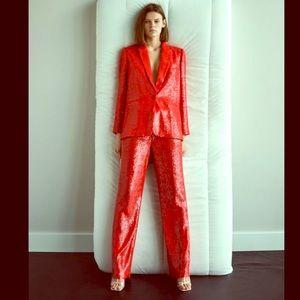 Zara red sequin pant suit